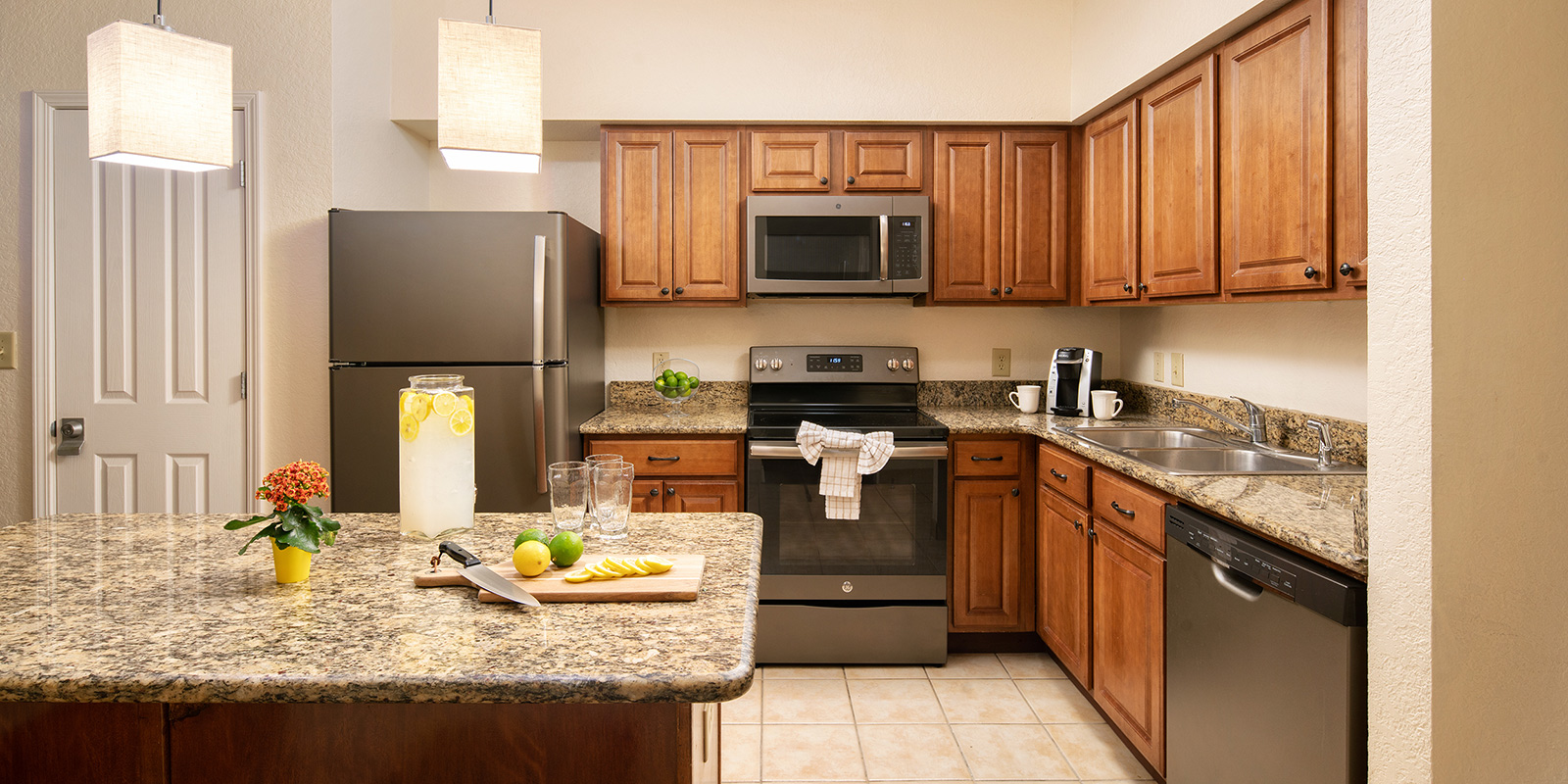 Kitchen in one of our two bedroom suites in Orlando