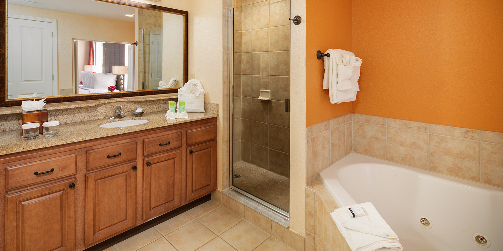 Master bathroom in one of our two bedroom suites in Orlando