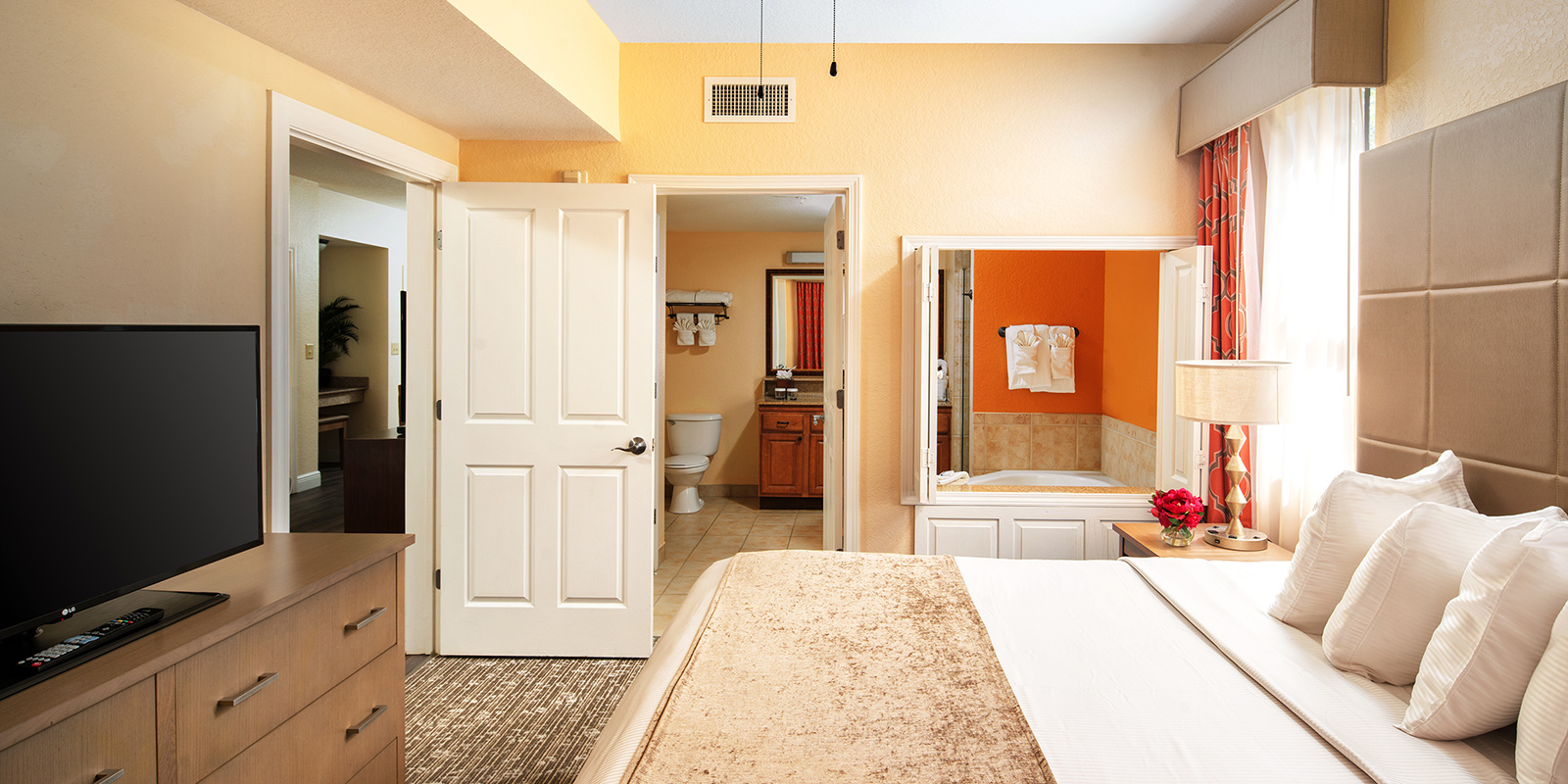 Master bedroom of one of our Two bedroom suites in Orlando